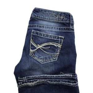 Silver Eden Flare Blue Stretch Jeans Thick Stitch